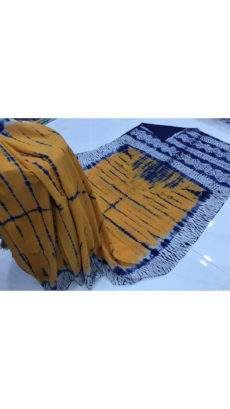 Mango yellow with blue and white pallu soft cotton Saree-yespoho