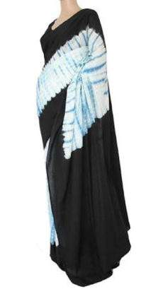 Black with white and light blue handwoven soft cotton saree-yespoho