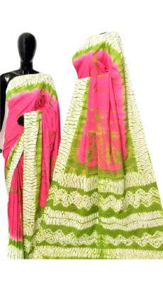 Pink and green handwoven soft cotton saree-yespoho