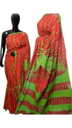 Tomato Red with Green Soft Cotton Saree-yespoho