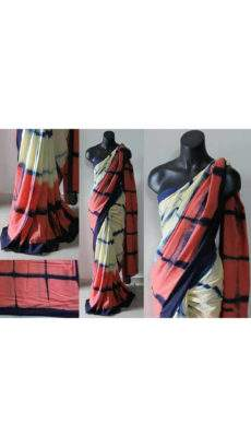 Off-white with Pink Handwoven soft cotton saree-yespoho