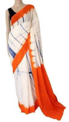 White with Orange Handwoven soft Cotton saree-yespoho