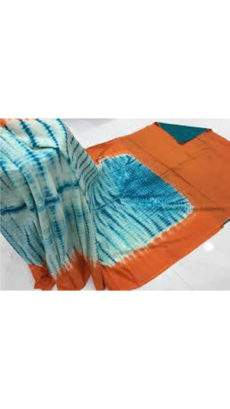 Pale Blue with Orange border soft cotton saree-yespoho