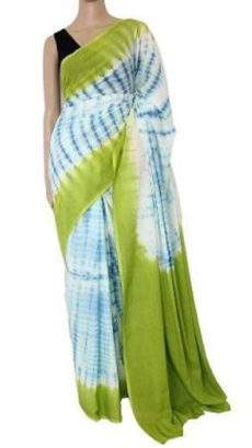 Green with white & blue handwoven soft cotton saree-yespoho