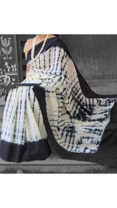 Black with white handwoven soft cotton saree-yespoho