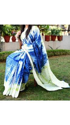 Green with shades of white and blue handwoven soft cotton saree-yespoho