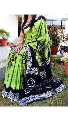 Green with shades of black and white handwoven soft cotton saree-yespoho