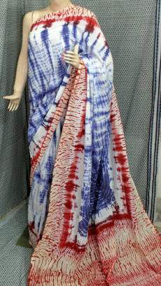 Blue with red border handwoven soft cotton saree-yespoho