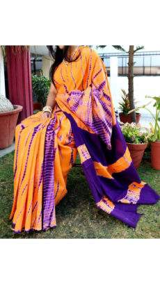 Orange with purple border handwoven soft cotton saree-yespoho