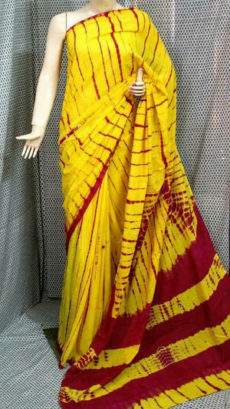 Lemon yellow with maroon stripes soft cotton saree-yespoho