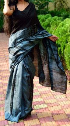 Black with metallic bluish grey handwoven soft cotton saree-yespoho