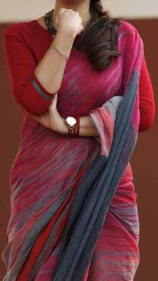 Maroon with grey handwoven soft cotton saree-yespoho