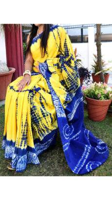 Yellow with navy blue soft cotton saree-yespoho