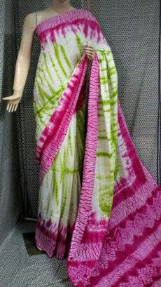 Light green with pink handwoven soft cotton saree-yespoho
