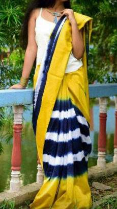Yellow with blue soft cotton saree-yespoho
