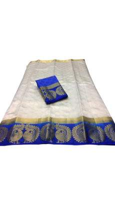 White with blue border tussar soft silk saree-yespoho