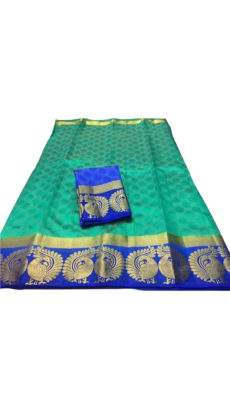Teal and Blue Tussar Silk Saree with Peacock Design-yespoho