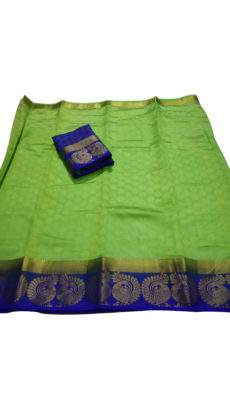 Green with blue border tussar soft silk saree-yespoho