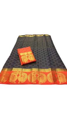 Black and orange Tussar Silk Saree with Perfect Pallu-yespoho