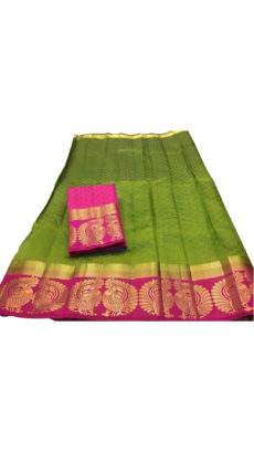 Green and Pink Peacock Design Tussar Silk Saree-yespoho