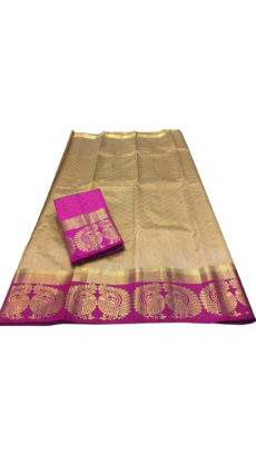 Golden Brown Peacock Design Tussar Silk Saree-yespoho