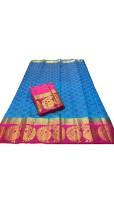 Instrument Butta Patterned Ananda blue Tussar silk Saree-yespoho
