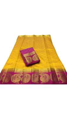 Lemon yellow Tussar Silk Saree with Peacock Design-yespoho