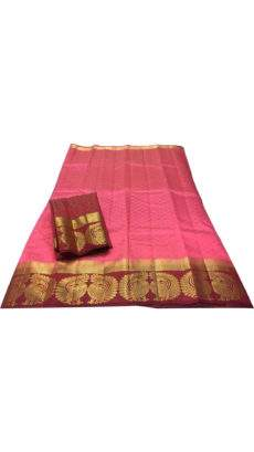 Pink Tussar silk saree with pallu-yespoho