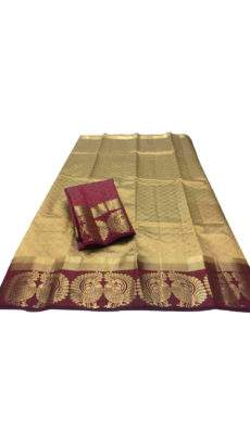 Golden brown with burgundy border & peacock butta tussar soft silk saree-yespoho
