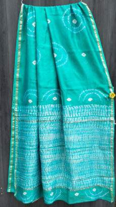 Aqua Green With Printed White Design Chanderi Silk Cotton Saree-yespoho