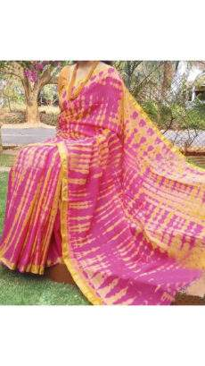 Pink With Mustard Print Design Chanderi Silk Cotton Saree-yespoho
