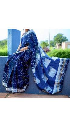 Navy Blue With Sky Blue Printed Design Chanderi Silk Cotton Saree-yespoho