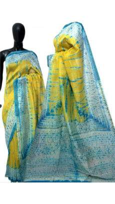 Yellow With Sky Blue & White Print Design Chanderi Silk Cotton Saree-yespoho
