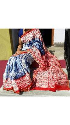 Navy Blue & Red With White Printed Design Chanderi Silk Cotton Saree-yespoho