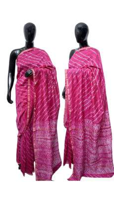 Pink With White Printed Design Chanderi Silk Cotton Saree-yespoho