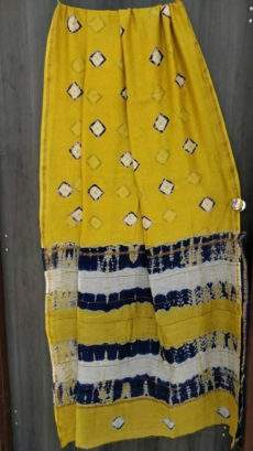 Yellow With Navy Blue & White Printed Design Chanderi Silk Cotton Saree-yespoho