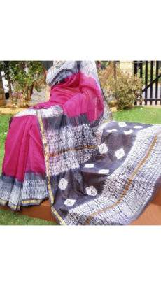 Magenta With Black & White Printed Design Chanderi Silk Cotton Saree-yespoho