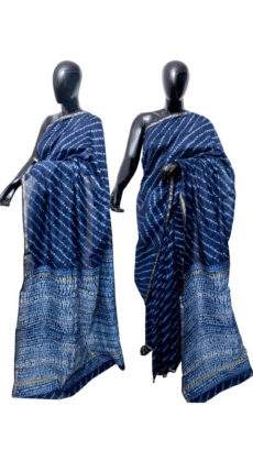 Navy Blue With White Printed Design Chanderi Silk Cotton Saree-yespoho