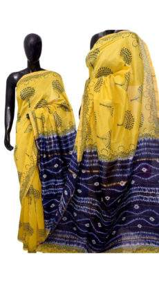 Yellow With Black Jumka Print Design Chanderi Silk Cotton Saree-yespoho