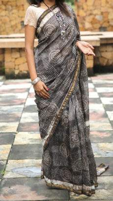 Grey With White Print Design Chanderi Silk Cotton Saree-yespoho