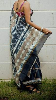 Blackish Blue With Beige White Print Design Chanderi Silk Cotton Saree-yespoho