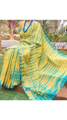 Yellow With Aqua Blue Print Design Chanderi Silk Cotton Saree-yespoho