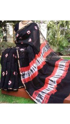 Black With Brick Red White Print Design Chanderi Silk Cotton Saree-yespoho