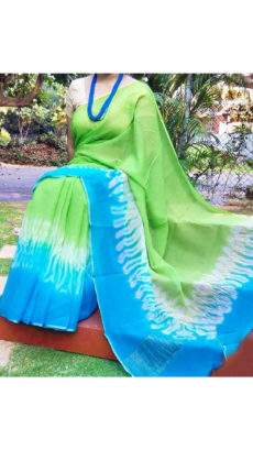 Plain Green With Sky Blue & White Print Design Chanderi Silk Cotton Saree-yespoho