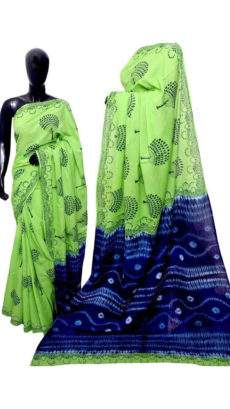 Pista Green With Black Jumka Print Design Chanderi Silk Cotton Saree-yespoho