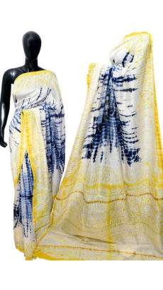 White With Yellow & Navy Blue Print Design Chanderi Silk Cotton Saree-yespoho