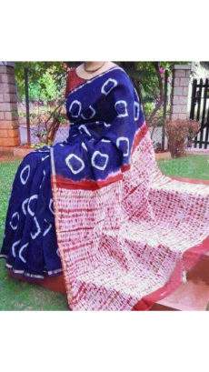 Navy Blue With White & Brick Red Print Design Chanderi Silk Cotton Saree-yespoho
