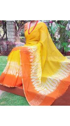 Lemon Yellow With Orange & White Print Design Chanderi Silk Cotton Saree-yespoho