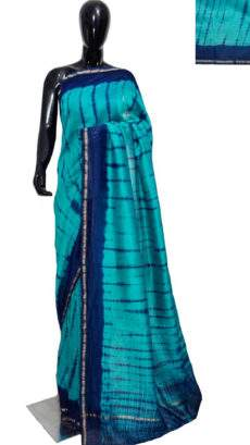 Aqua Blue With Navy Blue Print Design Chanderi Silk Cotton Saree-yespoho