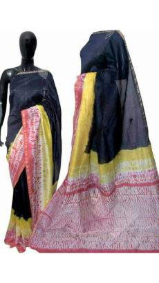 Black With Yellow Pink Print Design Chanderi Silk Cotton Saree-yespoho